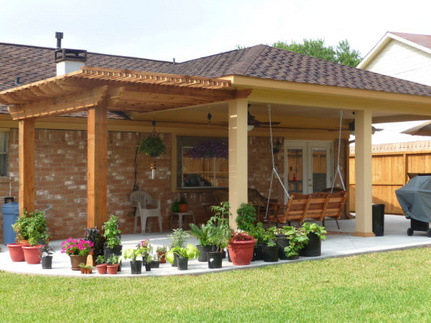 Custom Patio Covers Houston, TX. Specializing in patio covers, pergolas, sunrooms, outdoor living, custom patio design, Concrete, outdoor kitchens, screened porches. Built to match your home. Patio Cover Pictures, Videos,Custom Patio Cover Pictures, Free Estimates 832-692-0722